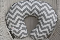 Gray and White Chevron and Gray Minky Boppy Cover. $25.00, via Etsy.