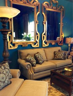 Gold + turquoise= One great color combination! #mirrors #accessories #sofa #livingroom | Houston TX | Gallery Furniture |