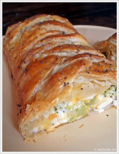 Broccoli Cheddar Chicken Braid.  This is a great recipe! I used puff pastry sheets, boiled the chicken, added some mushrooms and fresh herbs and had just this for lunch! Fantastic!!!