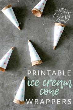 Grab these fun printable ice cream cone wrappers, and enjoy the summer. These sugar cone wrappers are perfect for an ice cream bar, backyard gathering, or summer evening on the porch! Sugar Cones, Edible Crafts, Diy Shops, Paper Packaging, Icecream Bar, July Crafts, Summer Evening, Diy Paper, 4th Of July