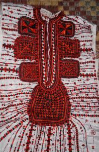 A traditional hand-embroidered Siwan wedding dress