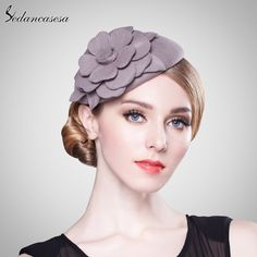 Elegant HeadWear Women Lady Airline Stewardess Hat Female Red Black Grey Red Flower Fascinator Wedding Party Formal Hat Oh just take a look at this! #shop #beauty #Woman's fashion #Products #Hat