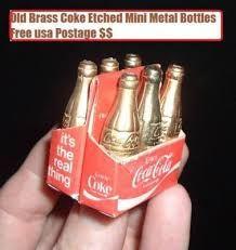 Vintage Miniature Old Coca Cola Coke Brass Soda Pop Bottles in Carton Rare … Coca Cola Drink, Coca Cola Bottles, Pop Bottles, Pepsi Cola, Disney Collectibles, Vintage Coke, Vintage Items, Best Soda, Always Coca Cola