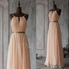 2015 Peach Long Bridesmaid Dress,Blush Prom Dress,Chiffon Wedding Dress,Floor Length Formal Dress,Mix And Match Party Dress(F066A1)-Renzrags by RenzRags on Etsy https://www.etsy.com/listing/220482299/2015-peach-long-bridesmaid-dressblush