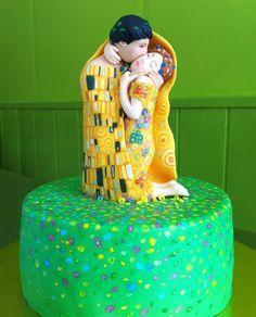 Pastel de fondant El Beso de Gustav Klimt #thekiss #elbeso #gustavklimt