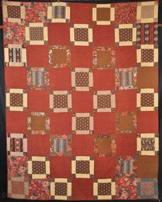 "c1850's ELONGATED NINE PATCH PATCHWORK QUILT COTTON 94"" x 72-1/2"" QUILTED 10 "" squares"
