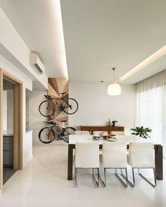 LED strip for modern interior lighting, nice and practical Condo Interior Design, Interior Design Singapore, Furniture Design, Bike Storage Home, Condominium Interior, Steel House, Interior Lighting, Ceiling Lighting, Ceiling Design