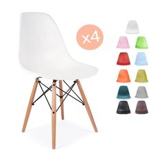 Charles Ray Eames Eiffel Inspired White DSW Dining Chair Retro in White 4 Chairs in Home, Furniture & DIY, Furniture, Chairs | eBay