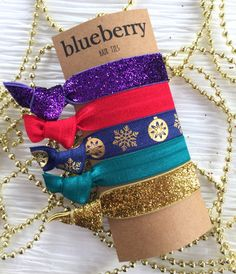 Christmas Gifts, Stocking Stuffers, Gifts Under 15 dollars - Hair Ties - Jewel Tones Set of Hair Ties - Gold, Glitter, Navy, Purple, Teal by BlueberryHairTies on Etsy