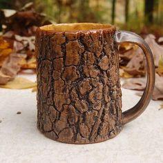 Tree Bark Mug with honey yellow interior from elainequave on Etsy. Shop more products from elainequave on Etsy on Wanelo. Pottery Mugs, Ceramic Pottery, Pottery Ideas, Ceramic Cups, Ceramic Art, My Coffee, Coffee Cups, Cabin Coffee, Clay Mugs