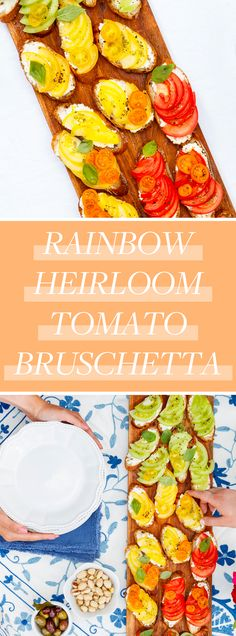 Rainbow Heirloom Tomato Bruschetta - Stuff to cook - entertaining Cold Appetizers, Recipes Appetizers And Snacks, Appetizer Dips, Healthy Snacks, Healthy Recipes, Vegetarian Recipes, Oven Recipes, Cooking Recipes, Cooking Food