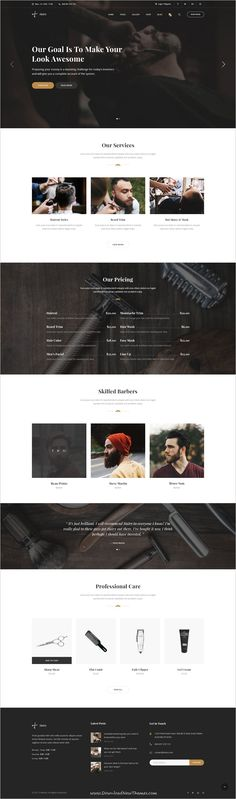 Hairy is clean and modern design PSD template for #salon and #barbershop website with 3 homepage layouts and 36 layered PSD pages to live preview & download click on Visit #psdtemplates