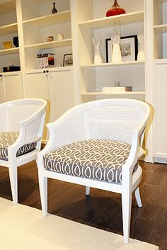 Vintage cane chairs makeover, Dwell Studio Bella Porte Charcoal fabric