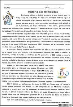 SOS PROFESSOR-ATIVIDADES: História das Olimpíadas