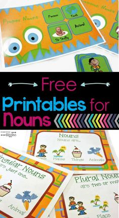 Are you looking for ideas, games, or anchor charts for teaching grammar? Check out these free printables for teaching nouns.