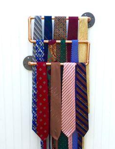 Copper Pipe Tie Rack, Industrial Design Tie Storage, Steampunk Decor, Modern Accessories Storage, Copper Pipe Tie Rack, Gift for Him, Men