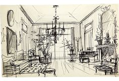 Sketch of drawing room and French chandelier. Pen and pencil on paper. Albert Hadley