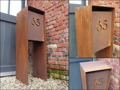 Cortenstaal | Ambrosia Design Wooden Mailbox, Diy Mailbox, Mailbox Stand, Farm Entrance, Parcel Box, Entry Wall, Front Yard Design, House Numbers, Interior Design Living Room