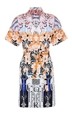 Lorda Belted Printed Cotton Dress by Mary Katrantzou Now Available on Moda Operandi