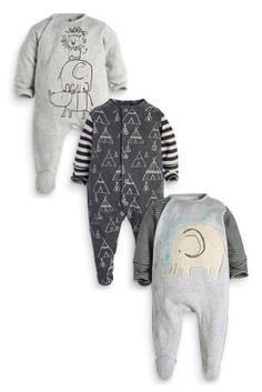 Buy Three Pack Grey Elephant Sleepsuits (0mths-2yrs) online today at Next: United States of America