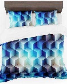 Modrá návliečka do spálne s motívom kociek (1) Cube
