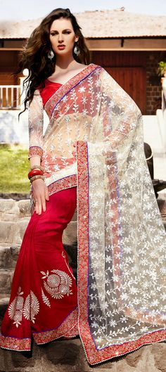 139144: Red and Maroon, White and Off White color family Saree with matching unstitched blouse.