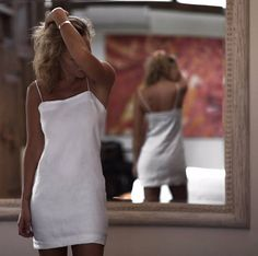 Linen Mini Dress White Linen Mini Dress with Thin Shoulder