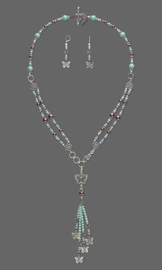 """Jewelry Design - Double-Strand Necklace and Earring Set with Swarovski Crystal and Antiqued Silver-Finished """"Pewter"""" Charm and Beads - Fire Mountain Gems and Beads"""