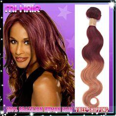 ombre body wave brazilian hair two tone human hair3/4bundles queen hair cheap 6a ombre brazilian hair #99J/30  $73.98 - 309.96