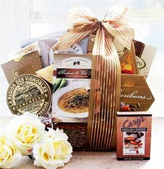 - This gourmet gift basket is filled with comfort foods to delight the taste buds and warm the soul. We have paired together the finest sweets and the richest savories to make this gift basket one to be remembered. Gourmet Gift Baskets, Gourmet Gifts, Food Gifts, Gourmet Recipes, Food Baskets, Sympathy Gift Baskets, Sympathy Gifts, Dark Chocolate Almonds, Chocolate Toffee