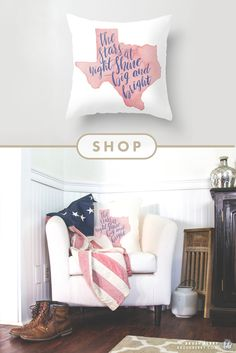 Texas Stars   Watercolor Quote   Throw Pillow by : Brush Berry   CLICK TO SHOP on Society6.