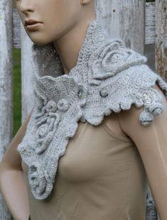 66105535b8a6 Unique crochet scarf Gray women scarf Christmas gift for her Háčkované  Kvety