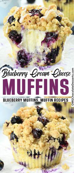 Blueberry Cream Cheese Muffins, Blueberry Desserts, Blue Berry Muffins, Blueberry Lemon Bread, Blueberry Ideas, Blueberries Muffins, Blueberry Cake, Chocolate Desserts, Muffin Recipes