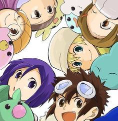 Digimon Adventure 02 - The New DigiDestined with their Digimon Partner at Fresh Level: Yolei (Miyako) Inoue with Pururumon, Ken Ichijouji wirh Leafmon, Davis (Daisuke) Motomiya with Chibomon (Chikomon), T.K. (Takeru) Takaishi with Poyomon, Kari Kamiya (Hikari Yagami) with Yukimibotamon and Cory (Iori) Hida with Upamon (Lesser Level)
