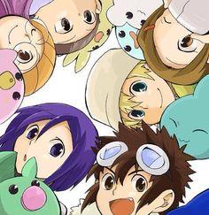 Digimon Adventure 02 - The New DigiDestined with their Digimon Partner at Fresh Level: Yolei (Miyako) Inoue with Pururumon, Ken Ichijouji wirh Leafmon, Davis (Daisuke) Motomiya with Chibomon (Chikomon), T.K. (Takeru) Takaishi with Poyomon, Kari Kamiya (Hikari Yagami) with Yukimibotamon and Cory (Iori) Hida with Upamon (Lesser Level)