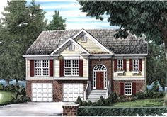Home Plan - 1295 Square Foot, 3 Bedroom 2 Bathroom Colonial Home with 2 Garage Bays Colonial House Plans, Colonial Style Homes, Bedroom Floor Plans, House Floor Plans, Dream Home Design, House Design, Affordable House Plans, Aspen House, Level Homes