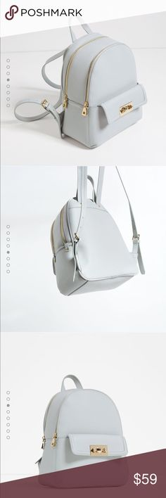Zara Backpack. Grey/blue color. Will post original pic later this eve. Zara Bags Backpacks