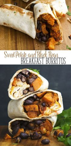 Sweet Potato and Black Bean Breakfast Burritos- These vegan sweet potato and black bean burritos are a great vegan breakfast recipe. It's also a freezer meal. A healthy recipe option if you are stuck in a rut. Vegan Sweet Potato and Black Bean Whole Foods, Whole Food Recipes, Cooking Recipes, Dinner Recipes, Clean Eating Recipes, Soup Recipes, Dinner Ideas, Pasta Recipes, Cooking Tips
