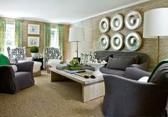 grasscloth walls, imperial trellis print curtains & gray sofas & chairs