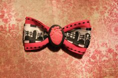 Death Heart  Pink by RiotGearHairBows on Etsy, $8.00