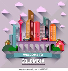 Colombia - Flat design city vector illustration - stock vector