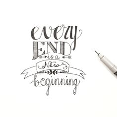 calligraphy quotes every end is a new beginning dag dutchlettering . Doodle Lettering, Hand Lettering Quotes, Creative Lettering, Typography Quotes, Brush Lettering, Calligraphy Quotes Doodles, Doodle Quotes, Drawing Quotes, Journal Quotes