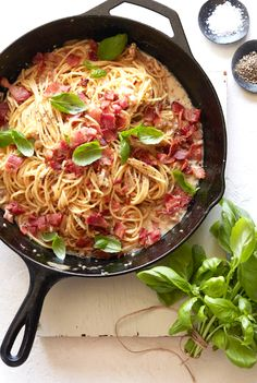 Brie, Bacon and Basil Pasta recipe from @whatsgabycookin