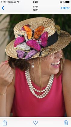Original – Barby TruLop – Join in the world of pin Fancy Hats, Cute Hats, Fascinator Hats, Fascinators, Painted Hats, Hat Decoration, Tea Party Hats, Diy Hat, Love Hat