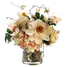 Brighten up your kitchen windowsill or entryway console with this blooming arrangement, featuring faux peonies, roses hydrangea & budding vines in a clear glass vase.