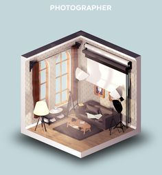 Room of a Photographer. Digital Interiors Design and Modern Nomads illustrations. To see more art and information about Petr Kollarcik click the image.