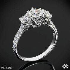 I typically don't like 3 studded rings but this is one of the exceptions. Past present and future engagement ring