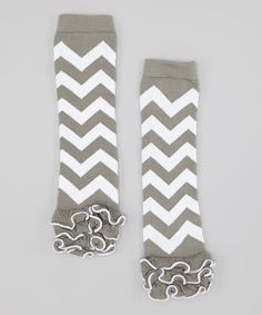 Another great find on #zulily! Gray & White Zigzag Ruffle Leg Warmers #zulilyfinds