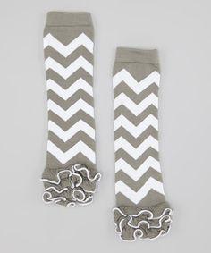 Gray & White Zigzag Ruffle Leg Warmers by Head over Heels #zulily #zulilyfinds