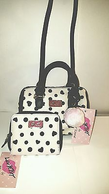 Betsey Johnson Mini Barrel xbody Bone/Black/ Polka Dot  pink Charm  & wallet